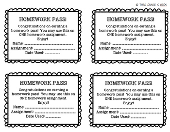 Homework Pass - FREEBIE