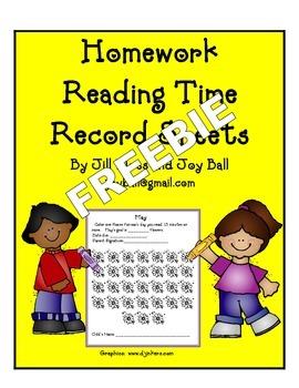 Homework Reading Time Record Sheets Freebie