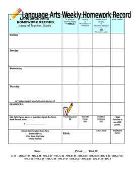 Homework Record Sheet