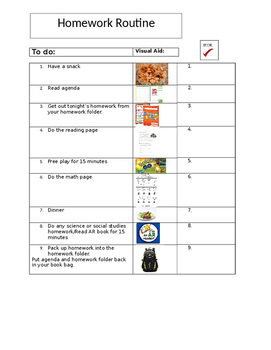 Homework Routine Checklist- Editable