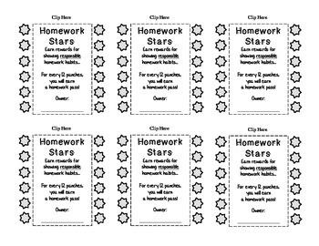 Homework Stars 12-Punch Card (Incentive)
