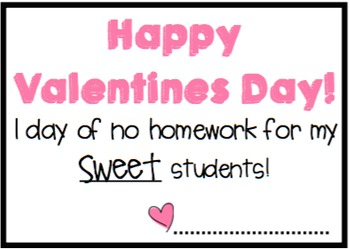 No Homework Valentine