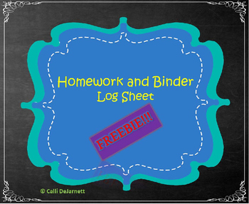 Homework and Binder Folder Log Sheet