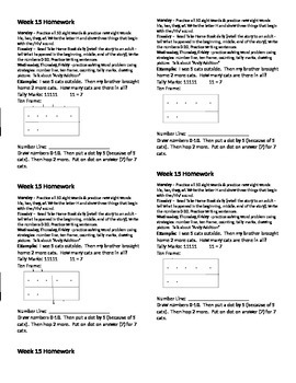 Homework for Kindergarten Week 15