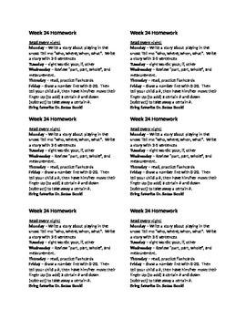 Homework for Kindergarten Week 24