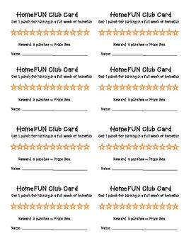 Homework or HomeFun Punch Card