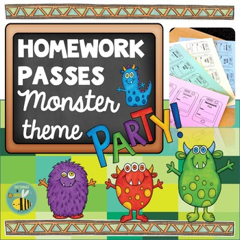Monster Homework Passes -classroom management