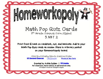Homeworkopoly Math Pop Quiz Task Cards (5.NBT.2)