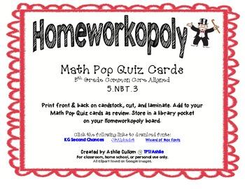 Homeworkopoly Math Pop Quiz Task Cards (5.NBT.3)