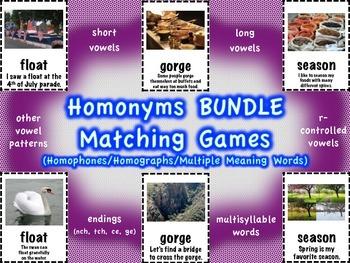 Homonyms Matching Games BUNDLE (Homophones/Homographs/Mult