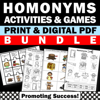 Homonyms Vocabulary Games & Activities BUNDLE for Literacy
