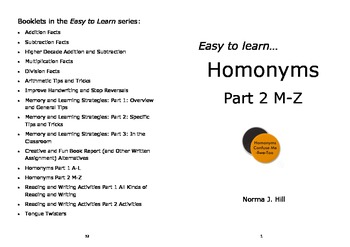 Homonyms Part 2 M-Z - Easy to Learn Series