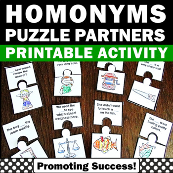 Homonyms Vocabulary Activities Word Work Games for Literac