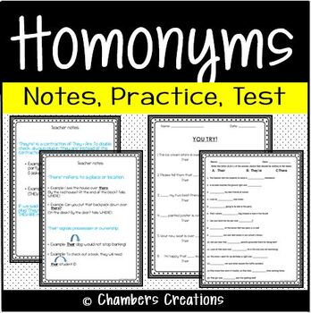 Homonyms: Their, They're, There  (Notes, Practice, & Asses