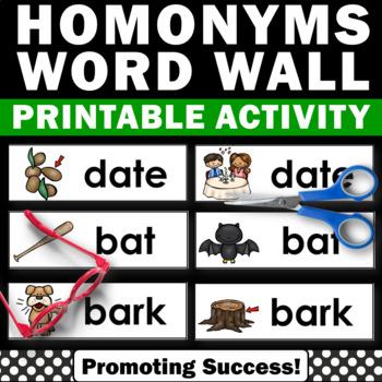 Homonyms Vocabulary Word Wall & Word Work Activities + Pho