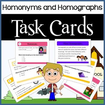 Homonyms and Homographs Task Cards