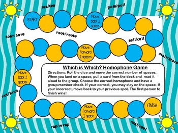 Homophone Board Game/Task Cards