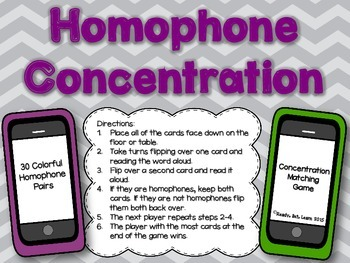 Homophone Concentration Game