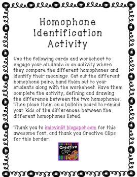 Homophone Identification Activity
