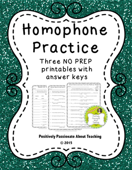Homophone Practice: 3 NO PREP Printables with Answer Keys