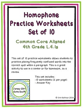 Homophone Practice Worksheets- Set of 10