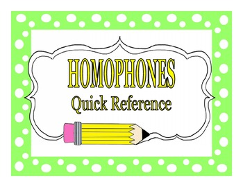 Homophone Quick Reference