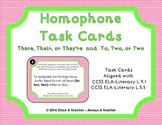 Homophone Task Cards - There, Their, or They're and To, Tw