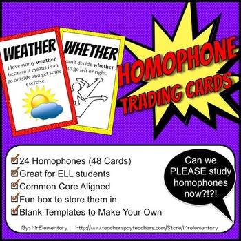 Homophone Trading Cards