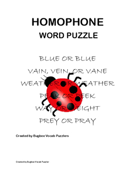 Homophone Word Puzzle