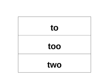 Homophone match up to, too, and two