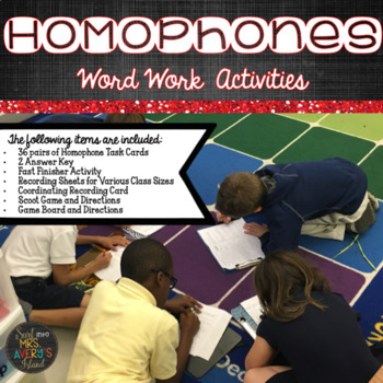 Word Work:  Homophones {Task Cards and Games}