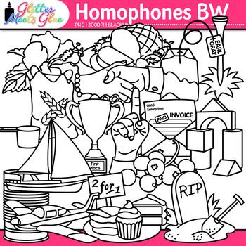 Homophone Clip Art {Berry & Bury, Tee & Tea, Plain & Plane