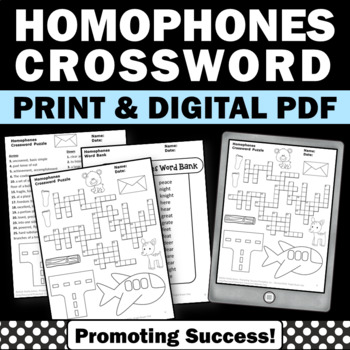 Homophones Crossword Puzzle Worksheet Phonics Vocabulary A