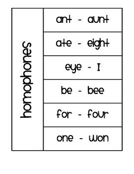 Homophones Flap Book