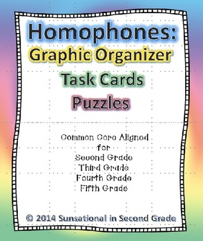 Homophones: Graphic Organizer, Task Cards, and Puzzles
