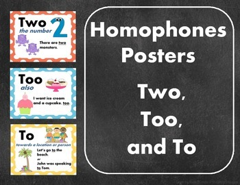Homophones Posters: Two, Too, and To