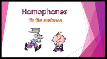 Homophones PowerPoint - fix the sentence