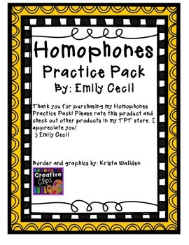 Homophones Practice Pack