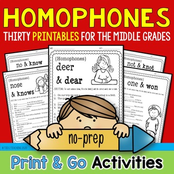 Homophones Print & Go Bundle (30 Printables for the Middle