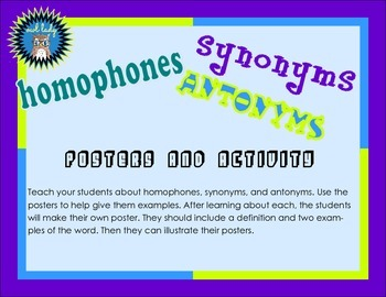 FREE   Homophones, Synonyms, Antonyms Posters and Activities