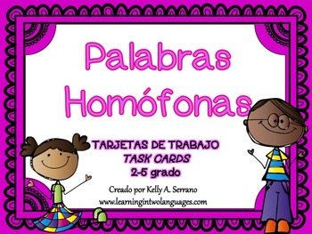 Homophones Task Cards in Spanish ( Homófonos )