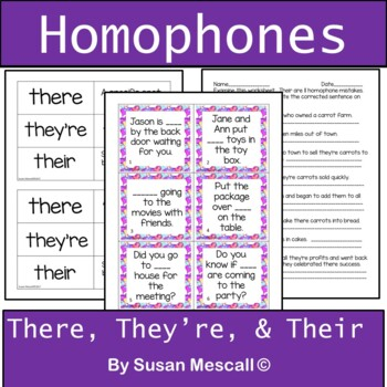 Homophones-There, They're, and Their Task Cards