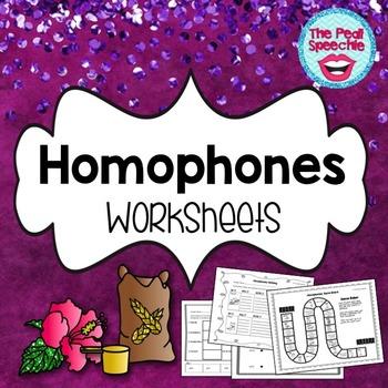 Homophones Vocabulary Worksheets