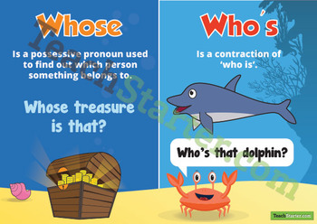Homophones - Who's & Whose Poster