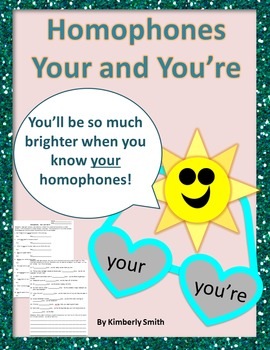 Homophones Your and You're Worksheet