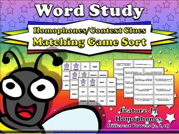 Homophones and Context Clues Matching Game Sort J7 Differe