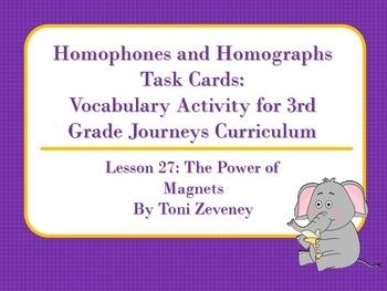 Homophones and Homographs Task Cards for Journeys 3rd Grade