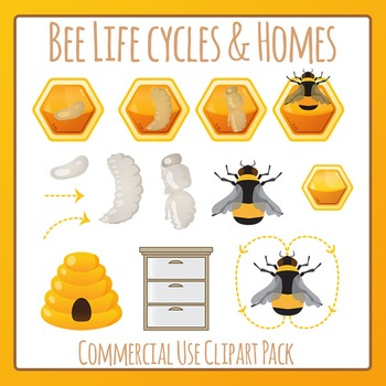 Honey Bee 2 (Life Cycle / Hives / Dance) Clip Art Pack for