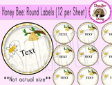 Honey Bee: Round Labels (12 per page)