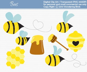Honey bee clip art - set of 10 clip arts